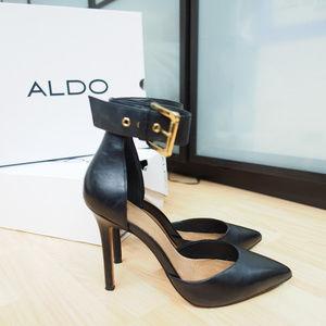 Aldo Astfeld Open Toe Leather Black Sandals 9